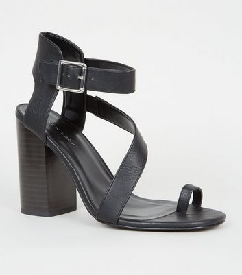 Black Leather-Look Toe Strap Block Heels