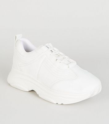 White Leather-Look Chunky Trainers