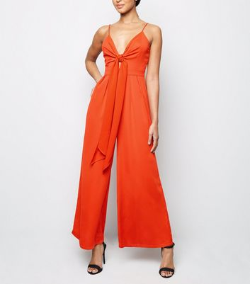 Red Tie Front Wide Leg Jumpsuit