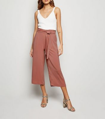 Coral Tie Waist Cropped Trousers