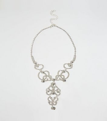 Silver Premium Diamanté Intricate Celtic Necklace