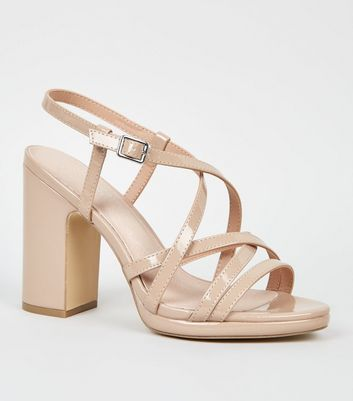 Nude Comfort Flex Patent Strappy Heeled Sandals