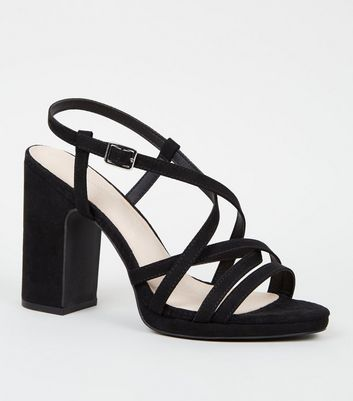 Black Comfort Flex Strappy Heeled Sandals