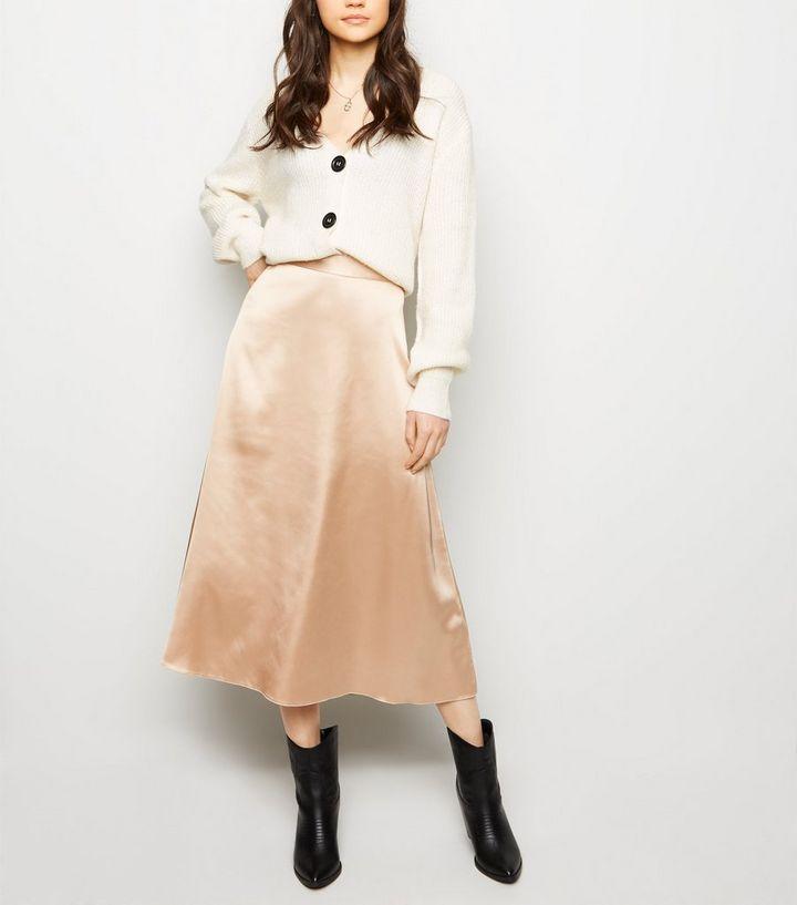 719f84787f Stone Satin Midi Skirt | New Look