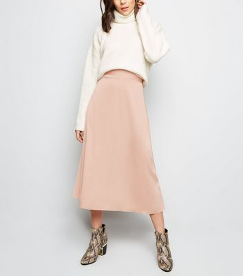 Pale Pink Satin Midi Skirt