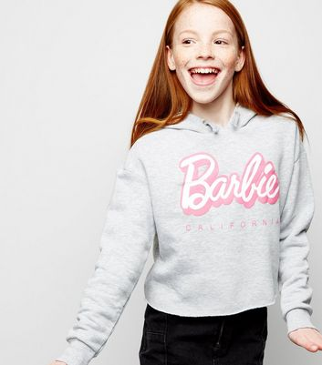 Girls - Sweat gris à slogan Barbie et capuche