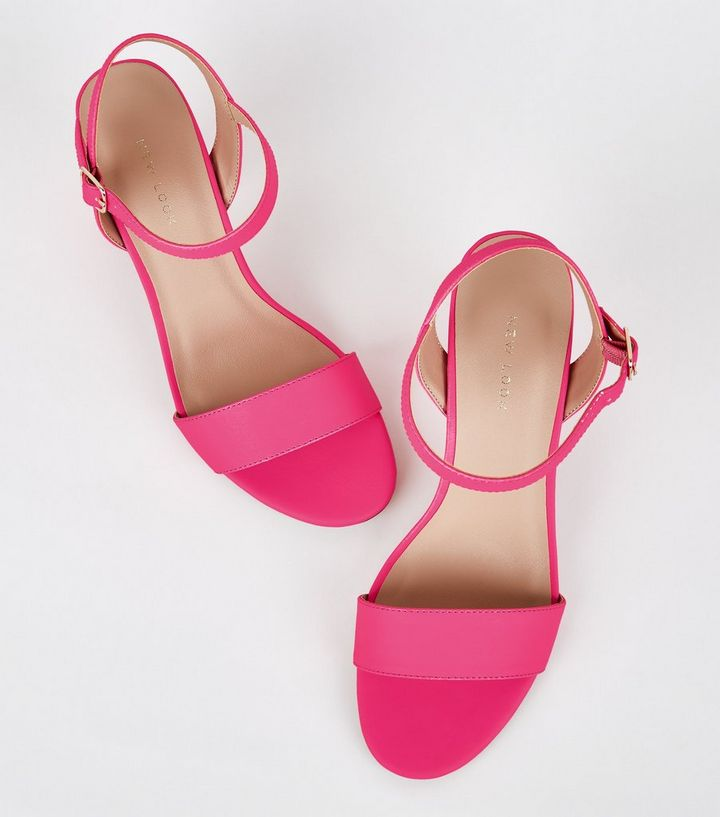 b8cd67fd684 Bright Pink Neon 2 Part Block Heels Add to Saved Items Remove from Saved  Items