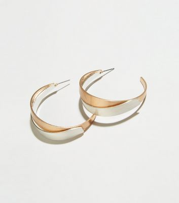 Gold Two Tone Metal Twist Hoop Earrings