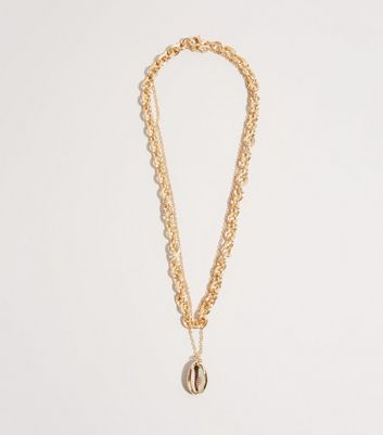 Gold Chunky Chain Shell Pendant Necklace