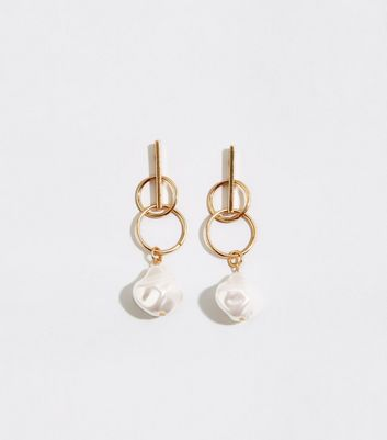 Gold Ring and Faux Pearl Drop Earrings