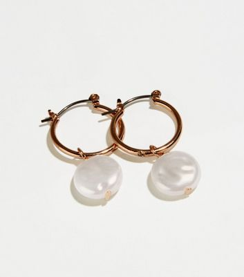 Gold Faux Pearl Mini Hoop Earrings