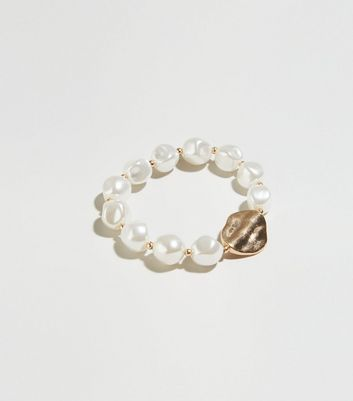 Gold Abstract Faux Pearl Bracelet