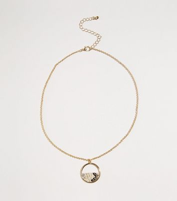 Gold Faux Snake Half Circle Pendant Necklace