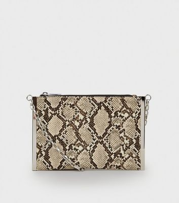 Brown Faux Snake Metal Bar Cross Body Bag