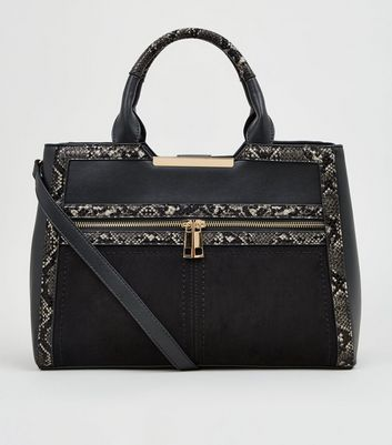 Black Faux Snake Trim Colour Block Tote Bag