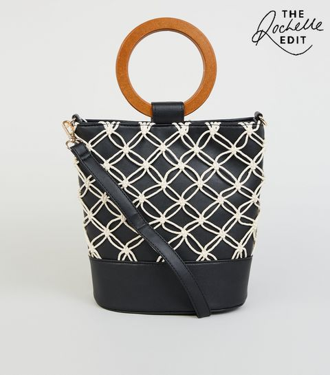 9e6ccccaefe8 ... Black Leather-Look Macrame Bucket Bag ...