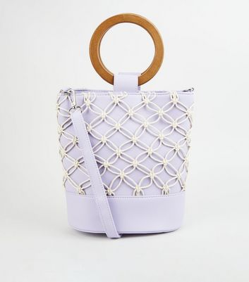 Lilac Leather-Look Macramé Bucket Bag