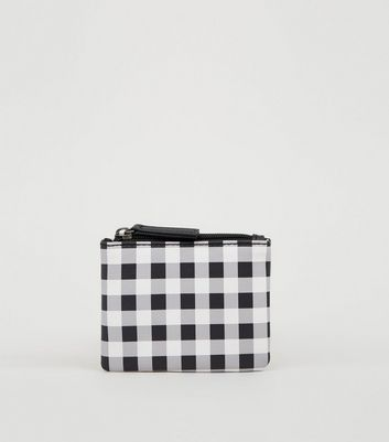 Black Gingham Zip Top Coin Purse