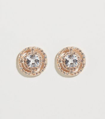 Rose Gold Cubic Zirconia Studded Earrings