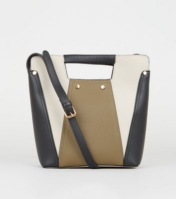 Khaki Colour Block Bucket Bag