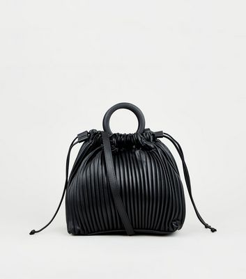 Black Leather-Look Pleated Bucket Bag