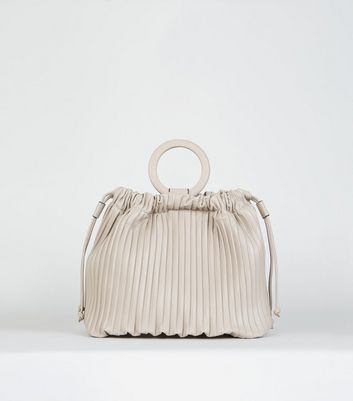 Nude Leather-Look Pleated Bucket Bag