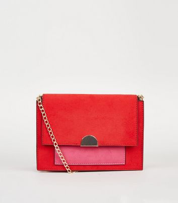 Red Colour Block Chain Shoulder Bag