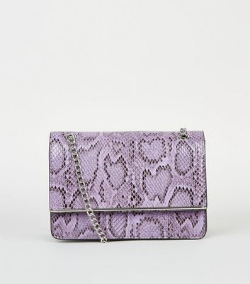 Lilac Faux Snake Chain Shoulder Bag