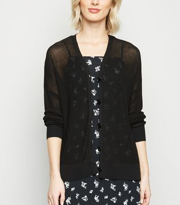 Black Mesh Knit Button Up Cardigan