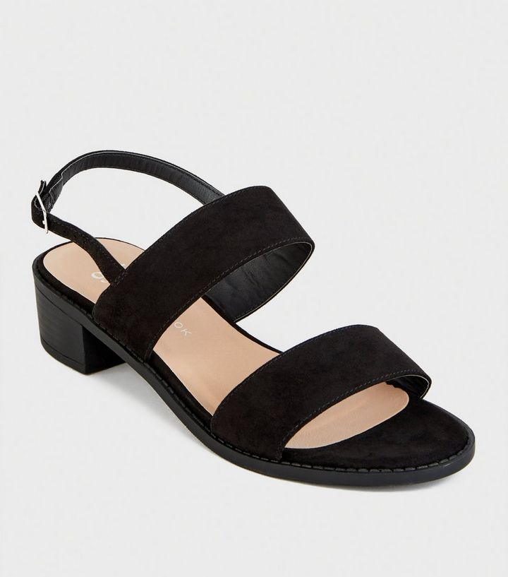 0d02c8f2f02 Girls Black Suedette Low Block Heel Sandals