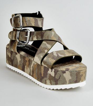 Girls Khaki Camo Strappy Flatform Sandals
