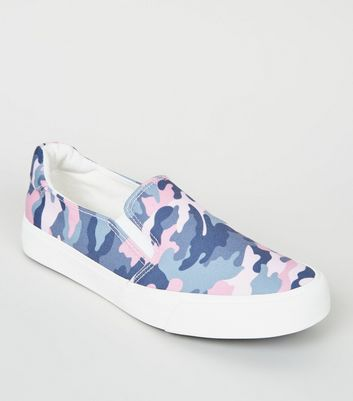 Girls Pink Canvas Camo Slip On Trainers