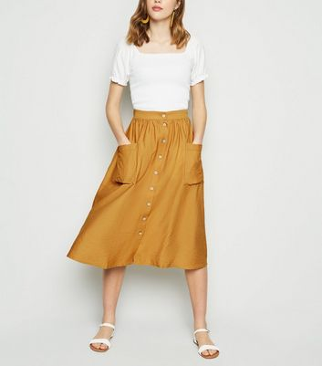 Mustard Button Pocket Front Midi Skirt