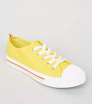 Girls Yellow Stripe Sole Lace Up Trainers