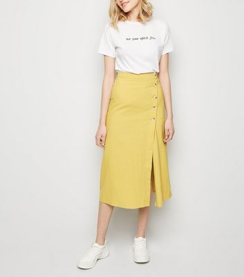 Yellow Grid Check Midi Skirt