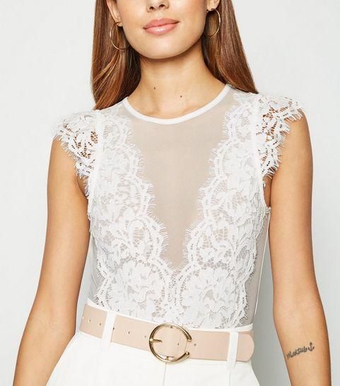 4cf2001097d0d ... White Lace Trim Mesh Bodysuit ...
