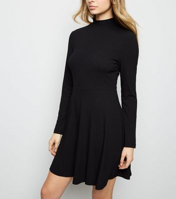 Black Ribbed High Neck Skater Dress