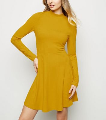 Mustard Ribbed High Neck Skater Dress