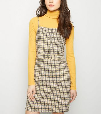 Mustard Jacquard Check Strappy Pinafore Dress