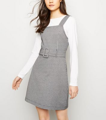 Black Gingham Jersey Belted Pinafore Dress