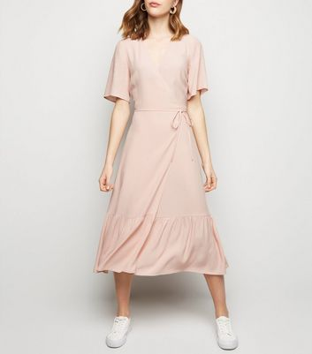 Pink Tiered Midi Wrap Dress
