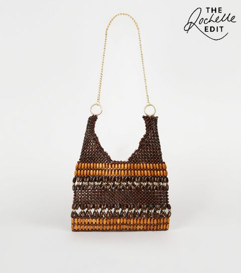 b2e10034844c ... Brown Wood Bead Chain Strap Shoulder Bag ...
