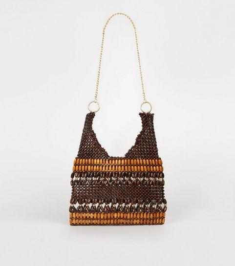 b2e10034844c ... Brown Wood Bead Chain Strap Shoulder Bag ...
