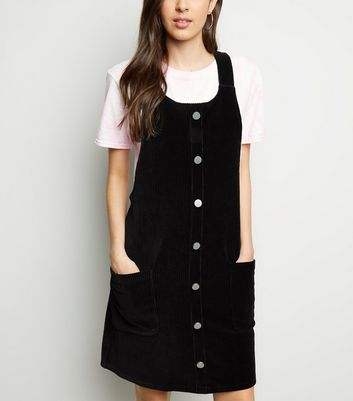 Black Velvet Corduroy Button Front Pinafore Dress