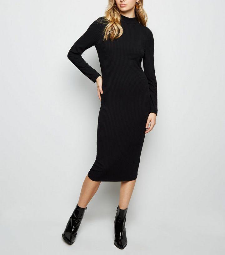 69d3cddb4af838 ... Black Ribbed High Neck Midi Dress. ×. ×. ×. Shop the look