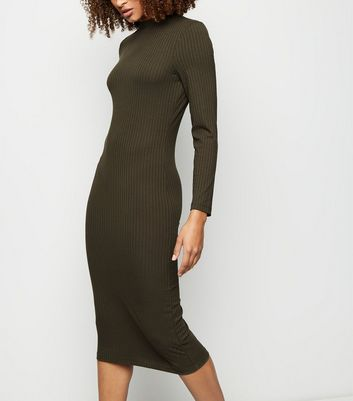 Khaki Ribbed High Neck Midi Dress