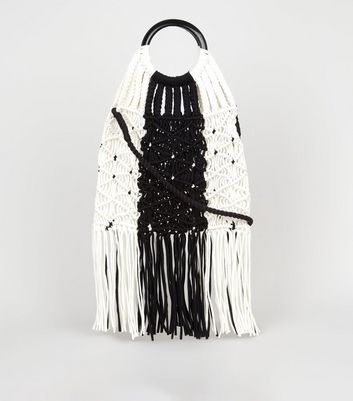 Black and White Macramé Shopper Bag