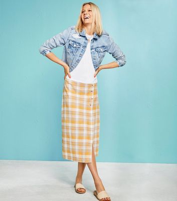 Yellow Check Linen Blend Button Side Midi Skirt