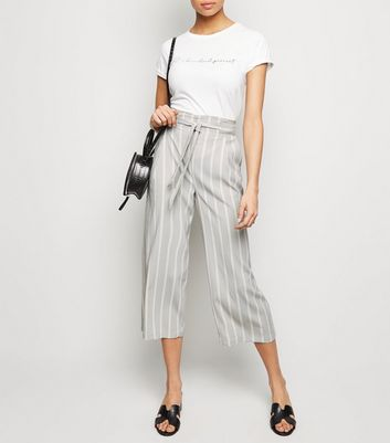 Light Grey Stripe Crop Trousers