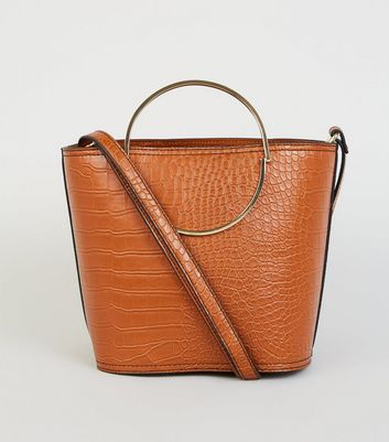 Tan Faux Croc Ring Handle Bucket Bag
